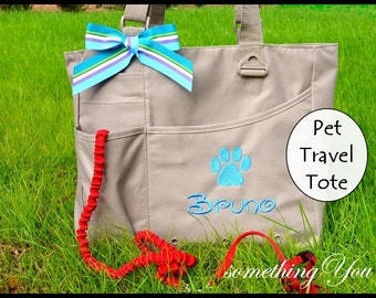 Personalized Name Pet Travel Organizer Tote with Paw Print Embroidery - Dogs Cats Small Airplane Airline Car Bags Zippered Washable