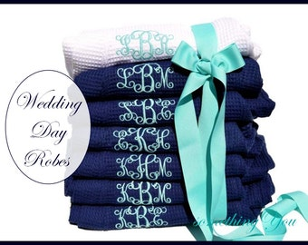 Bridesmaid Robes Set of 6 Monogrammed - Personalized Blue Navy Six Wedding Waffle Weave Bridesmaid Robes, Wedding Party- Bridal Party