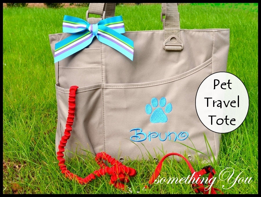Personalized Name Pet Travel Organizer Tote With Paw Print