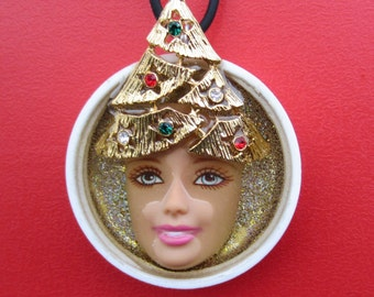 Upcycled Barbie Doll Face Holiday Pendant