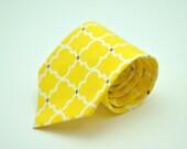 Bright Yellow and Gray Latticework  Men's Necktie