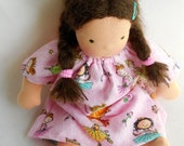 doll nightgown, waldorf doll, handmade doll clothes, gift for dancer, ballerinas, pink, doll dress, germandolls