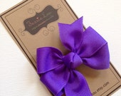 Hair Bow - Little Girl Hairbows - Small Periwinkle Pinwheel Bow - Periwinkle Bow