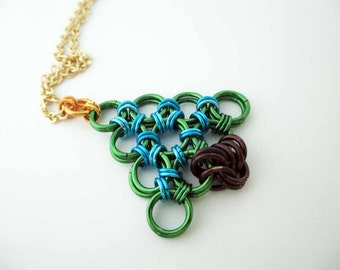 Chainmaille Christmas Tree Necklace Blue Handmade