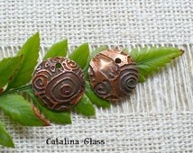 Etched Copper Jewelry Components  Earring Pair SRA Handmade by Catalina Glass Zentangle Designs