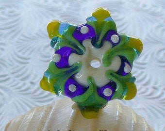 Lampwork Glass Beads Handmade by Catalina Glass SRA  Cobalt and Green Star Flower Focal