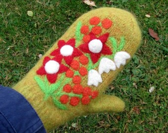 Felted mittens ochre green-yellow wool hand knit with needle felted flowers size medium-large
