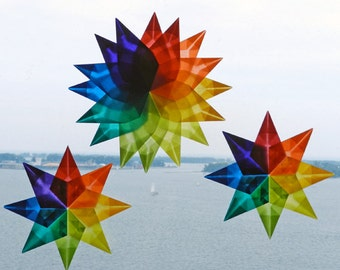 Window Stars - DIY 3 Star Kit , A Birthday Card with Kit to make 3 Folded Stars - PDF (no word instruction just illustrations and photos.)