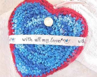 With All My Love - Heart Shaped Silk Tapestry Plush Ornament - Blue Bird of Happiness Message - Gift for Her  - Valentine's or Mother's Day