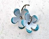 Enameled Copper Flowers - White and Sapphire
