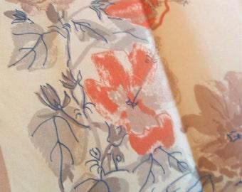 Squash Blossoms and Nutmeg - a rare, vintage 1940's Vera Neumann parachute silk scarf - 32 inches