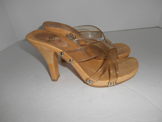 90s Italian Clear Plastic Studded Jelly Shoes Chunky Heels