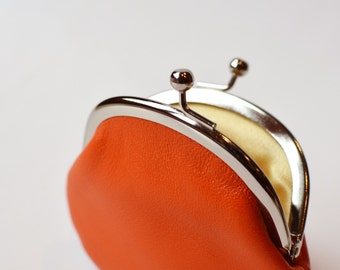 Small Orange Leather Coin Purse