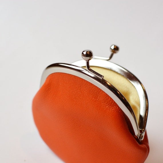 Small Orange Leather Coin Purse