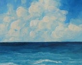 "Sea of Clouds 12"" x 12"" Original Seascape Painting on Gallery Wrapped Canvas by Torrie Smiley"
