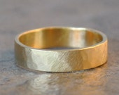 archer ring - men's wedding band in hammered 14k yellow gold , recycled metal