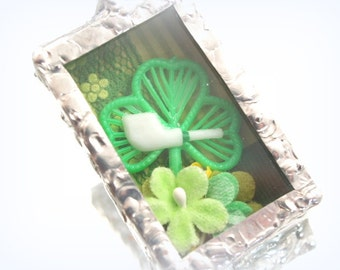 Shamrock Irish  Necklace Ornament Soldered Box Mixed Media One-of-a-Kind Diorama Pendant