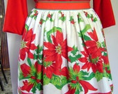 Vintage 1950s Christmas Apron - Poinsettias and Holly