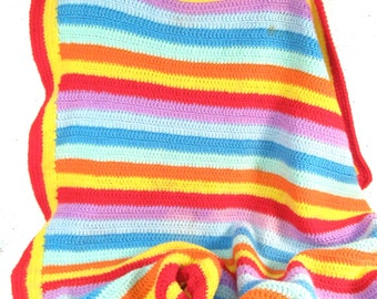 Vintagee crochet afghan, rainbow baby blanket, small square blanket colorful stripes