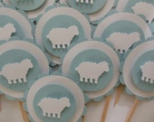 Sheep or Lamb Cupcake Toppers - Blue and White - Boy Birthday Party Decorations - Baptisms - Boy Baby Showers - Set of 12