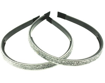 "2 pieces - 10mm (3/8"") Glitter Lined Headband with Teeth in Silver - Hair Accessories"