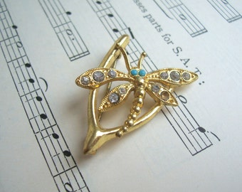 Beautiful Gold Wishbone brooch with Dragonfly - 1960s vintage - broken for jewellery making