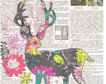 Deer,Colourful.Fantasy. Antique Book Page Print,handmade gift.home decor,vintage,retro.french.mixed media.art.child.nursery.whimsy.flower
