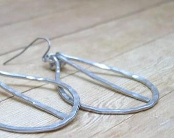 Silver Aluminum Hoop Earrings with Dangle, Metal Earrings, Metalwork Earrings, Hammered Metal Jewelry, Textured Hoop Earrings, Rustic