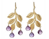 Trickle Earrings- 14k gold plated leaf earrings featuring deep purple amethyst briolettes. One of a kind.