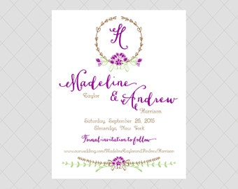 Purple Flower Save the Date Cards