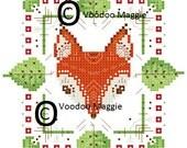 Painted Fox Cross Stitch Pattern PDF