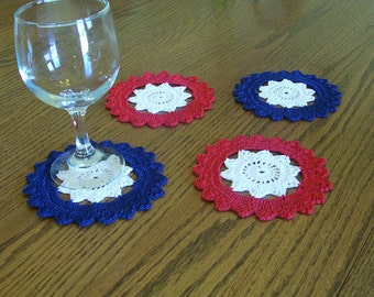 Red White and Blue 4th of July Crocheted Coaster Set