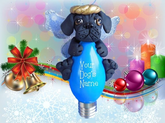 Black Puggle Pug/Beagle mix Angel Dog Christmas Holidays Light Bulb ...