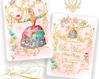 Marie Antoinette Invitations Let Us Eat Cake Party, Birthday, Tea Party, Sweet 16, Wedding Shower with Pink Shimmer Envelopes, SET of 6