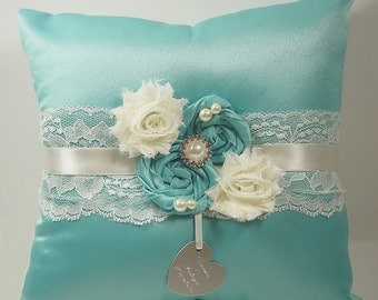 Personalized Ring Bearer Pillow in Custom Colors with Rhinestones, Pearls and Personalized Engraving