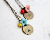 Petite Initial Necklace, Custom Made Disc Charm, Floral Shabby Chic Bohemian Jewelry
