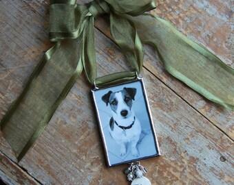 In Memory Custom Photo Keepsake, Custom Photo Ornament, First Christmas Ornament, Soldered Glass Photo Ornament, Pet Ornament