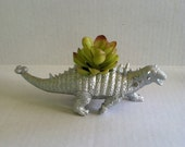 Silver Dinosaur Planter for Succulent Plants Fun Office Decor