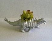 Silver Dinosaur Planter for Succulent Plants Fun Office Decor