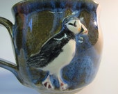 Puffin on Blue Stoneware Mug
