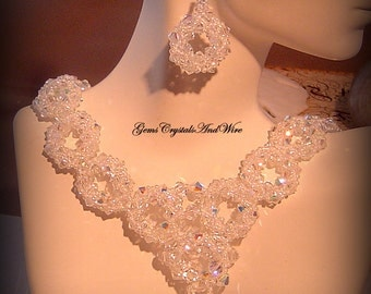 Swarovski Crystal  Bridal Necklace and Earrings Set