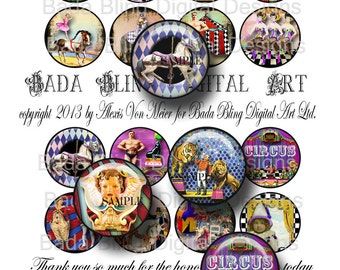 1.5 inch Carnival, Circus and Sideshow Performers, circus collage sheets, INSTANT  Digital Download at Checkout, circus,carnival,sideshows
