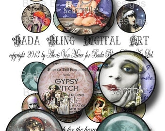1.5 inch  Gypsies, Mystics and Fortune Tellers ... digital collage sheets for pendants and pill cases INSTANT  Digital Download at Checkout