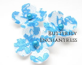 Something Blue Beach Wedding, Bridal Hair Flowers, Hair Accessory - 3 White Ivory Blue Lace Hydrangea Flower Bobby Pins - Pearl Centers