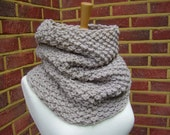 Hand knitted cowl / hand knitted scarf / taupe cowl / circular scarf / neckwarmer / ready to ship