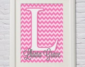 Custom Baby Name Monogram Wall Art Printables PDF Digital Files in 2 Sizes (8x10, 11x14) Chevron Nursery Decor