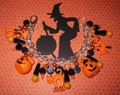 Vintage Style Halloween Charm Bracelet Cat Witch JOL Pumpkinhead OOAK Prim Folk Art Retro Style Kitsch