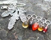 Autumn in Vermont - Gemstone Briolette and Sterling Silver Leaf Pendant Interchangeable Necklace