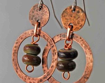 Handmade Hammered Copper and Glass Bead Dangle Earrings