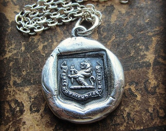 Faithful Friend, Courageous Foe Wax Seal Necklace - Lion and Sword - RP845